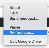 google drive preferences menu